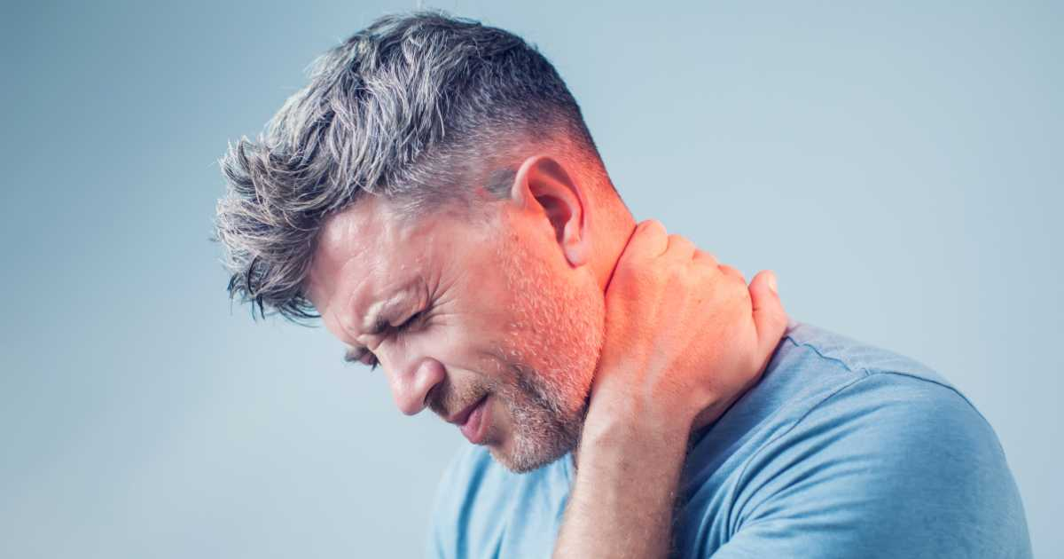 man with neck pain from whiplash injury